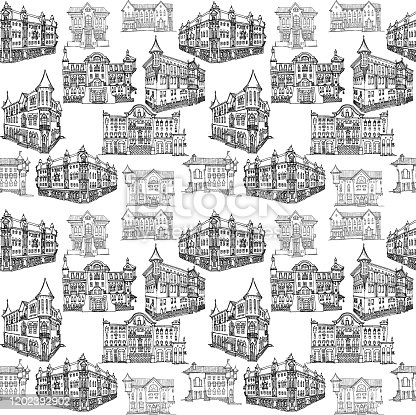 Seamless pattern of outline in lines on a white background. Vintage city houses in classical architecture, diverse for travel