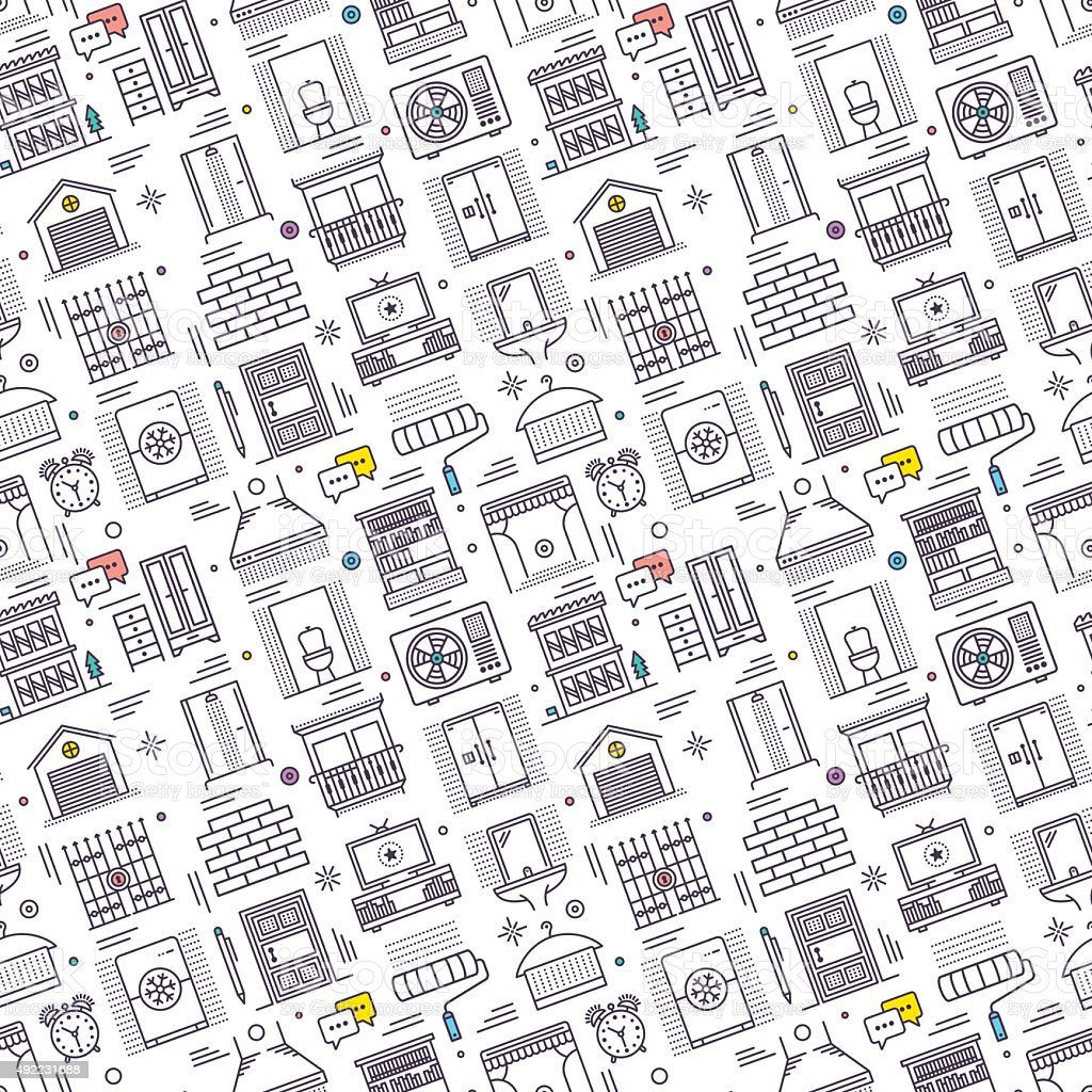 Seamless Housework Pattern vector art illustration