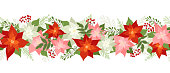 Seamless Ð¡hristmas border with poinsettias, holly berries, rowan berries, winter plants, pine branches. Xmas vector illustration, holiday pattern