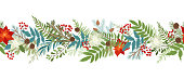 Seamless Ð¡hristmas border with winter plants and floral, poinsettia, holly berries, mistletoe, pine and fir branches, cones, rowan berries. Xmas and New Year vector illustration. Holiday design template