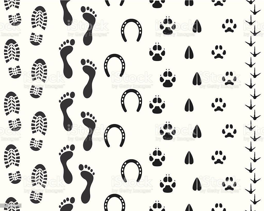 シームレスなヒトおよび動物のフットプリント のイラスト素材
