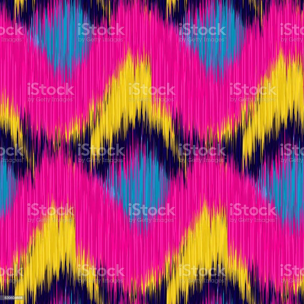 Seamless Ikat Pattern vector art illustration