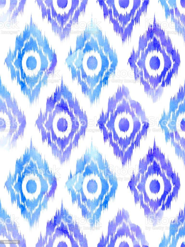 Seamless ikat textile pattern . vector art illustration