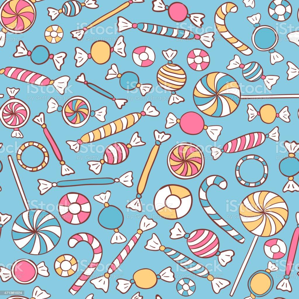 Bonbons motif sans couture. - Illustration vectorielle
