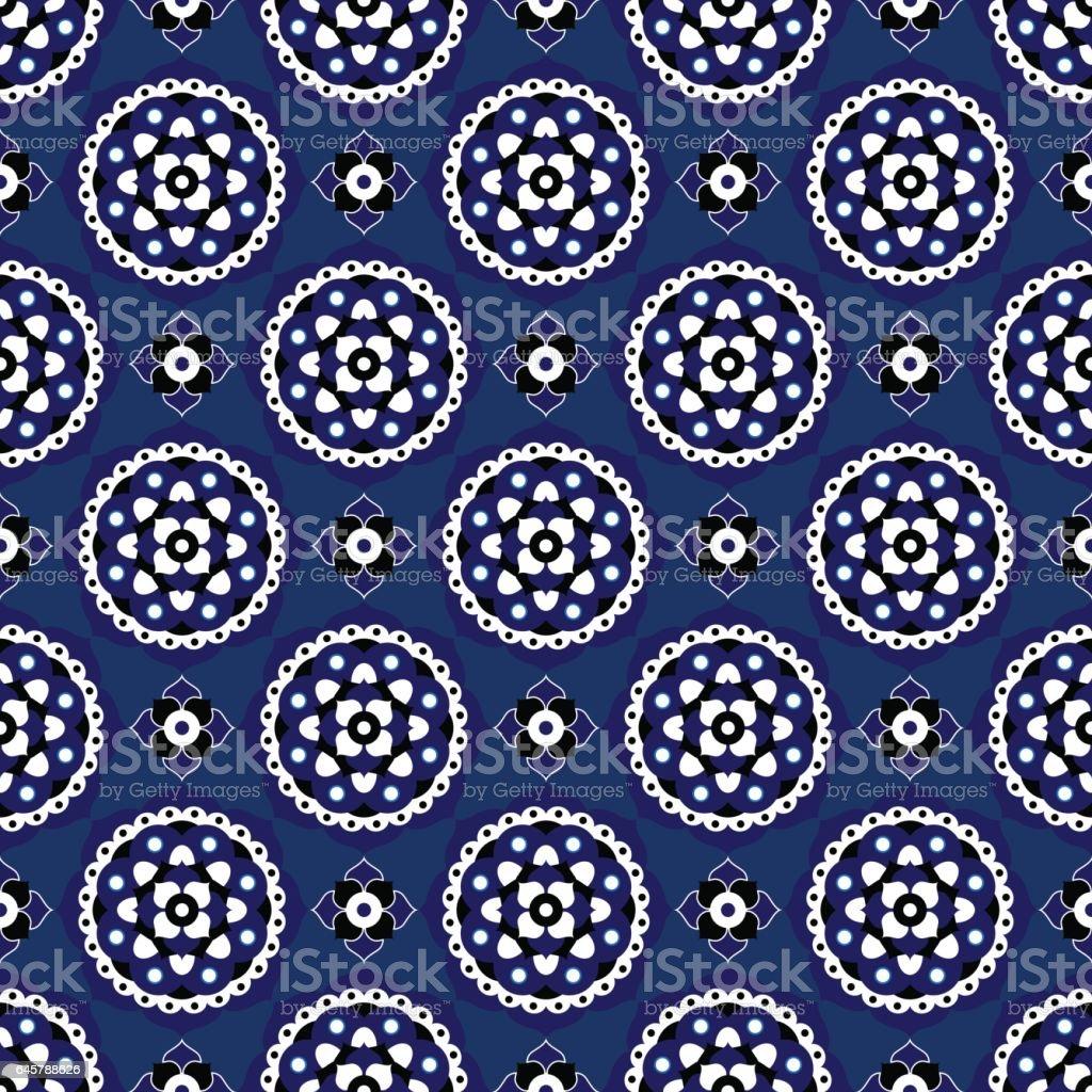 Nahtlose Illustration Blaue Orientalische Blute Fliesen Stock Vektor