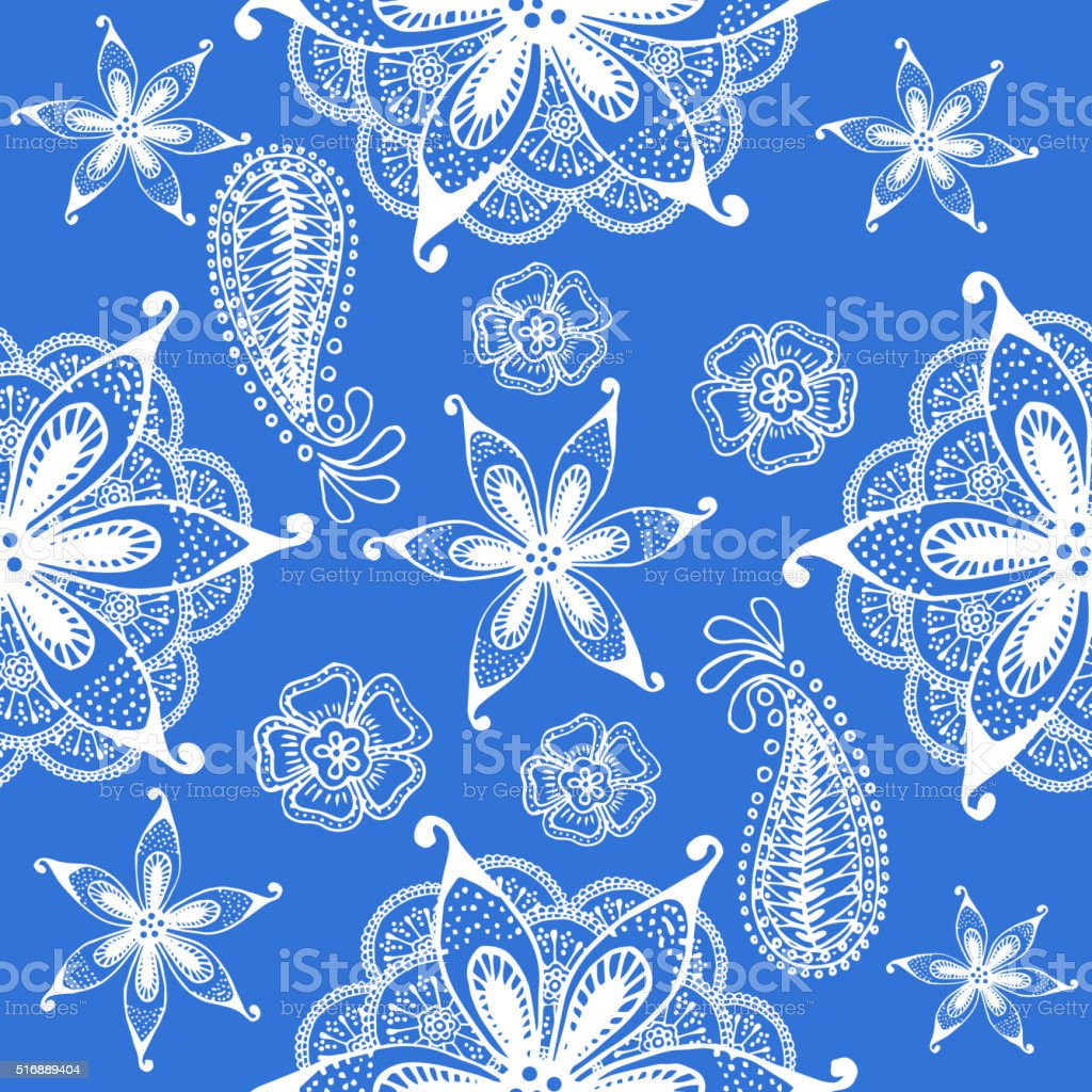 Seamless indian pattern, blue vector art illustration