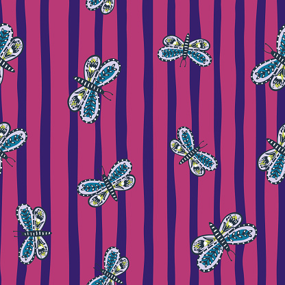 Seamless insect pattern with botanic ornamental random blue folk butterfly print. Pink and blue striped background.