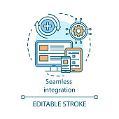 Seamless integration concept icon. Referral marketing idea thin line illustration. Smm, social networking. Responsive website, app design. Vector isolated outline drawing. Editable stroke