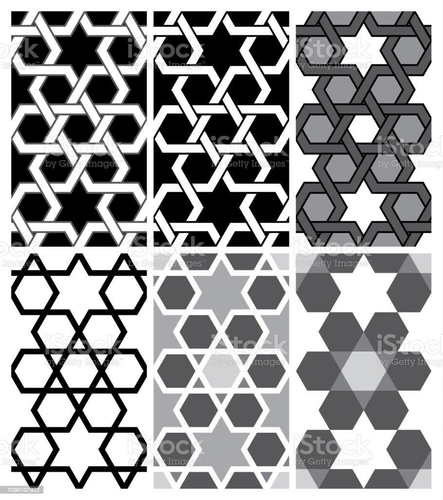 Nahtlose islamischen geometrischen Muster: Ein Muster in 6 Variations_Vector EPS 10 – Vektorgrafik