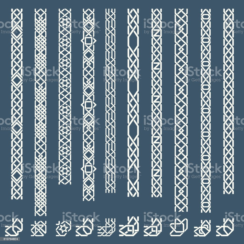 Seamless islamic ornamental borders royalty-free seamless islamic ornamental borders stock illustration - download image now