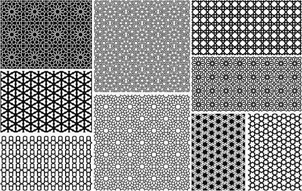 seamless islamic patterns - tile pattern stock illustrations, clip art, cartoons, & icons