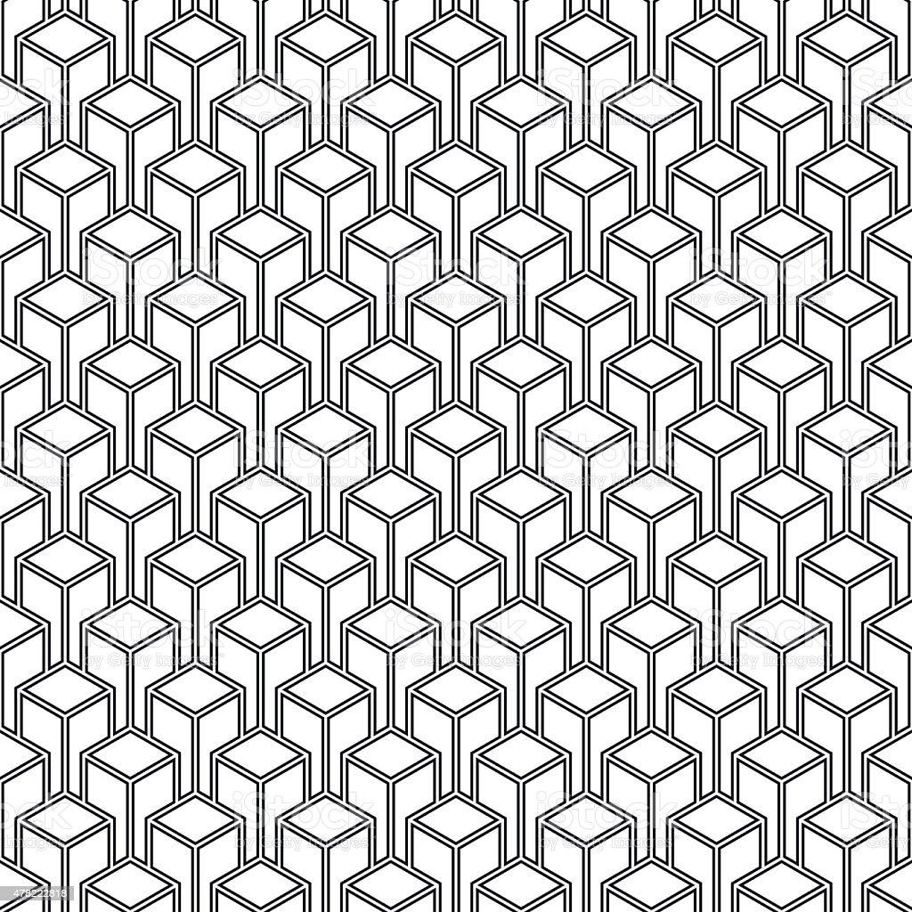seamless isometric outline pattern. vector art illustration
