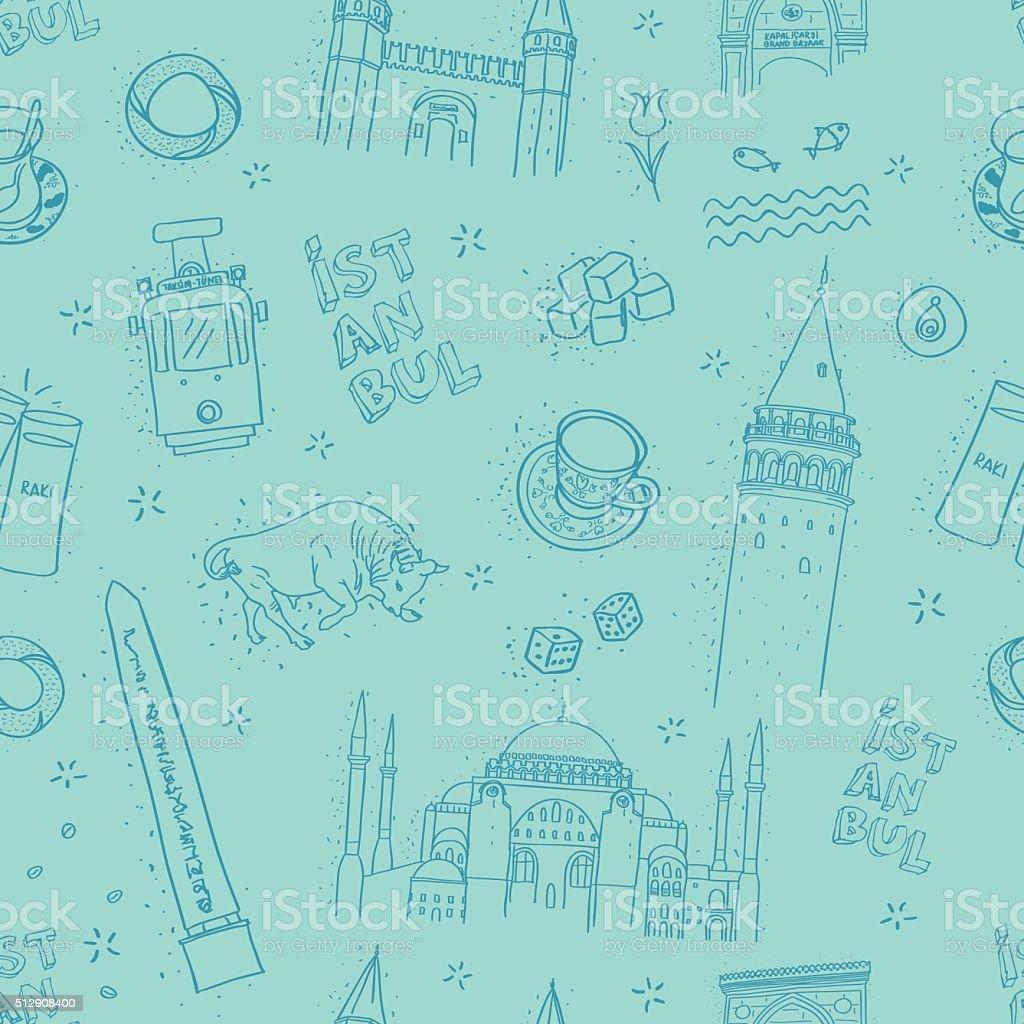 seamless istanbul landmarks pattern vector art illustration