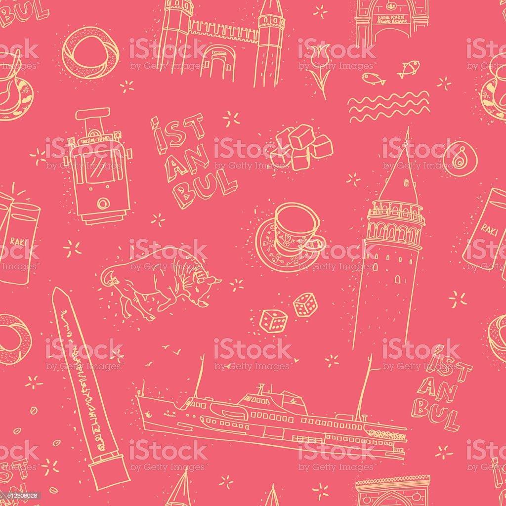seamless istanbul pattern on red vector art illustration