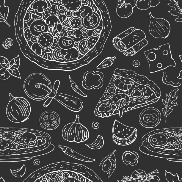 nahtlos italienisches pizza-muster auf schwarzem hintergrund, vintage-pizza-sammlung - pizzeria stock-grafiken, -clipart, -cartoons und -symbole