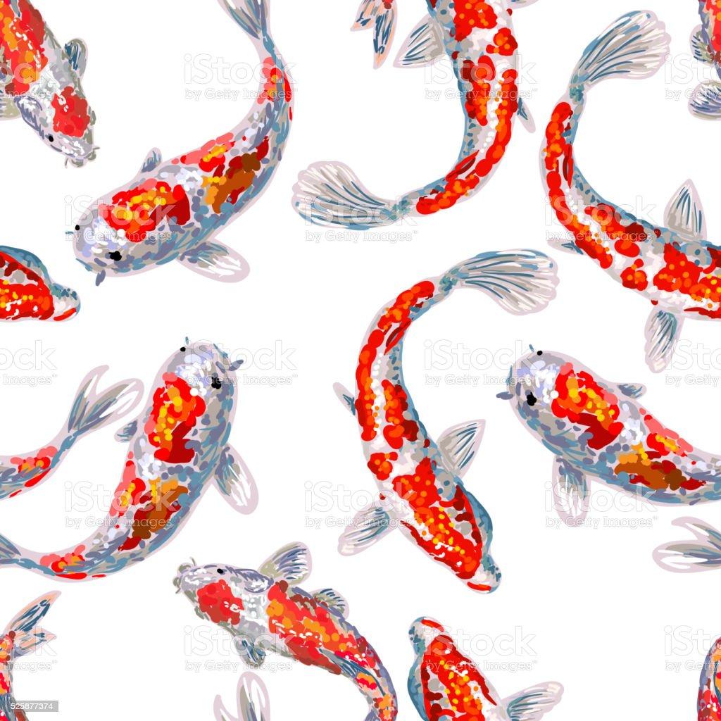 Seamless japan pattern with koi fish stock vector art for Koi teichfische
