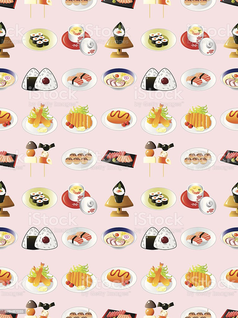 seamless Japanese food pattern royalty-free stock vector art