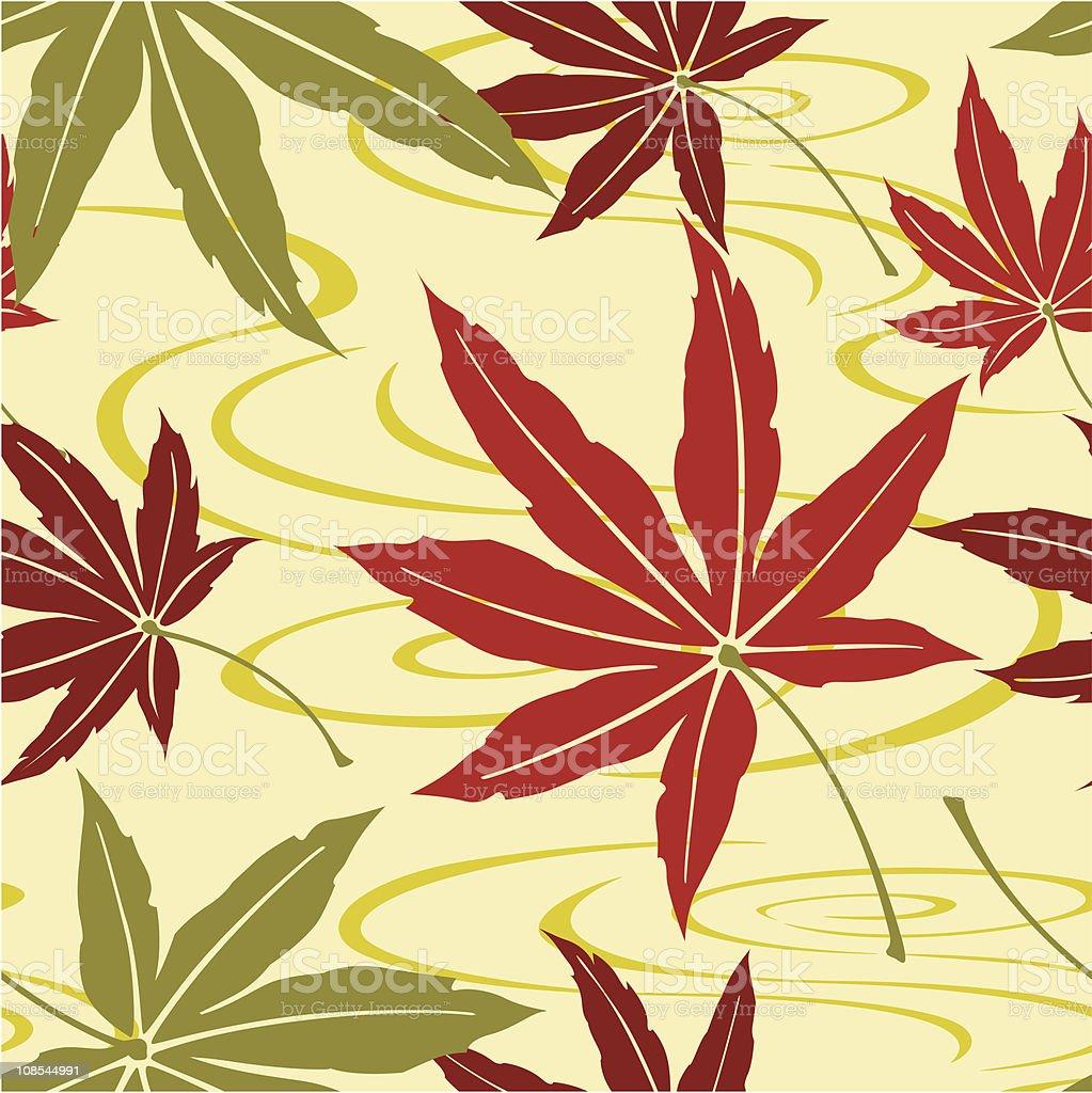 Seamless Japanese Maple Leaf Pattern vector art illustration