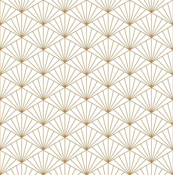 Seamless japanese pattern shoji kumiko in golden. Beautiful Seamless japanese pattern kumiko for shoji screen, great design for any purposes. Japanese pattern background vector. Japanese traditional wall, shoji.Fine lines. japanese culture stock illustrations