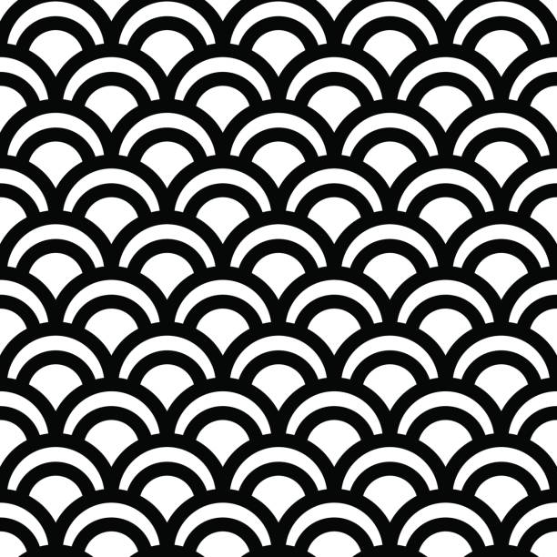 seamless japanese pattern - scallop stock illustrations, clip art, cartoons, & icons