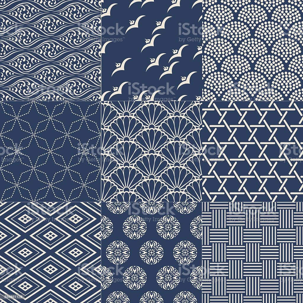 seamless japanese traditional mesh pattern vector art illustration
