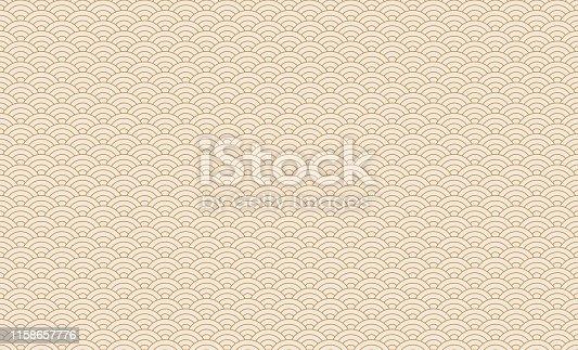 istock Seamless japanese wave pattern. Repeating ocean water curve chinese texture. Gold and white line art vector illustration. Vintage geometric shape background. Retro sea ornament 1158657776