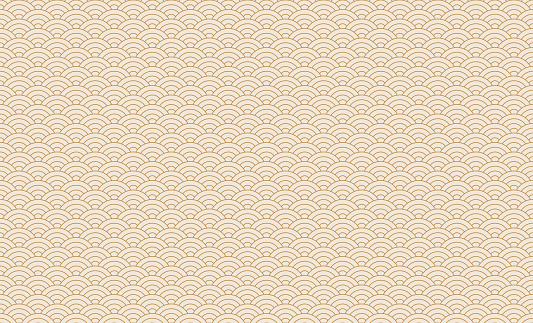Seamless japanese wave pattern. Repeating ocean water curve chinese texture. Gold and white line art vector illustration. Vintage geometric shape background. Retro sea ornament