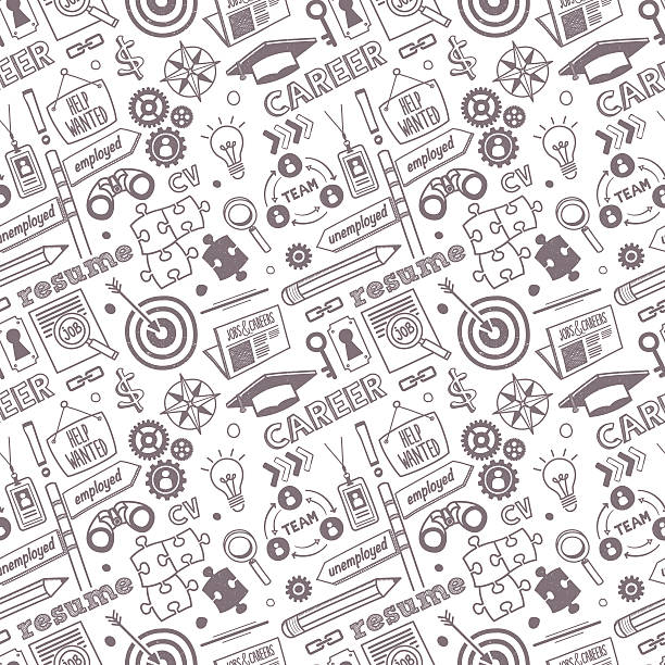 Seamless Jobs & Career Pattern Seamless vector background contains doodle jobs & career drawings. recruiter stock illustrations