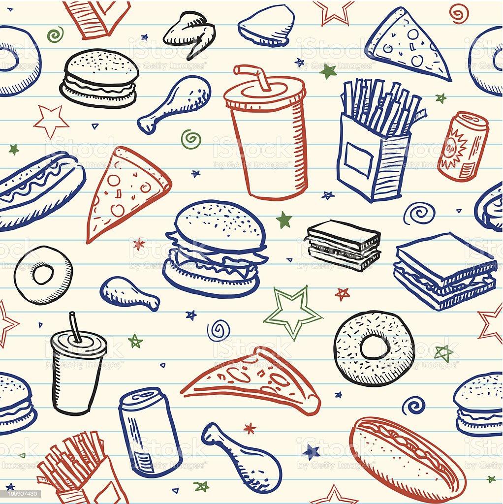 Seamless junk food background vector art illustration