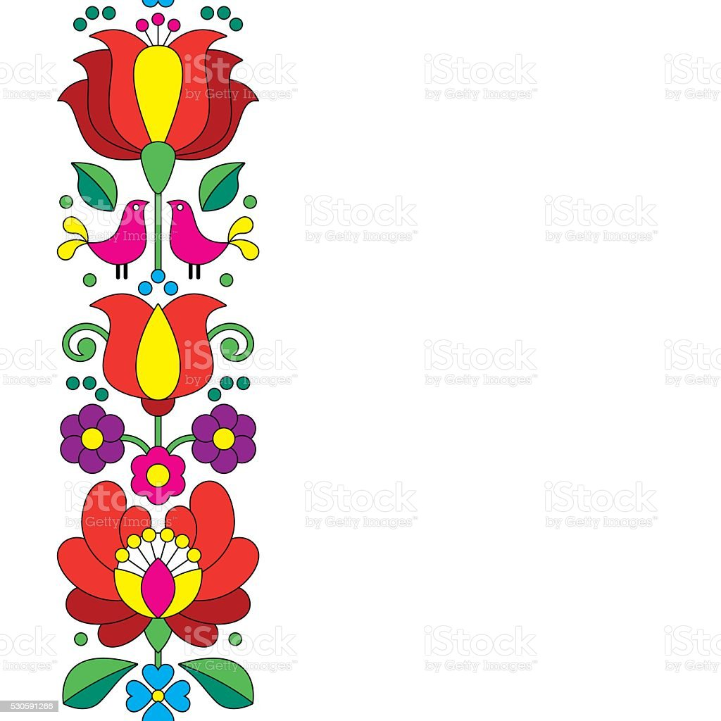 Ilustración de Bordadohúngaro Kalocsai Sin Costuras Floral Patrón De ...