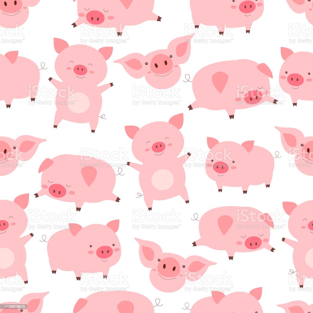 Seamless kawaii pattern cheerful little cute pigs, in different poses, in white background. Funny cartoon animals vector illustration. Texture with flat character pigs. Seamless kawaii pattern cheerful little cute pigs, in different poses, in white background. Funny cartoon animals vector illustration. Texture with flat character pigs. Abstract stock vector
