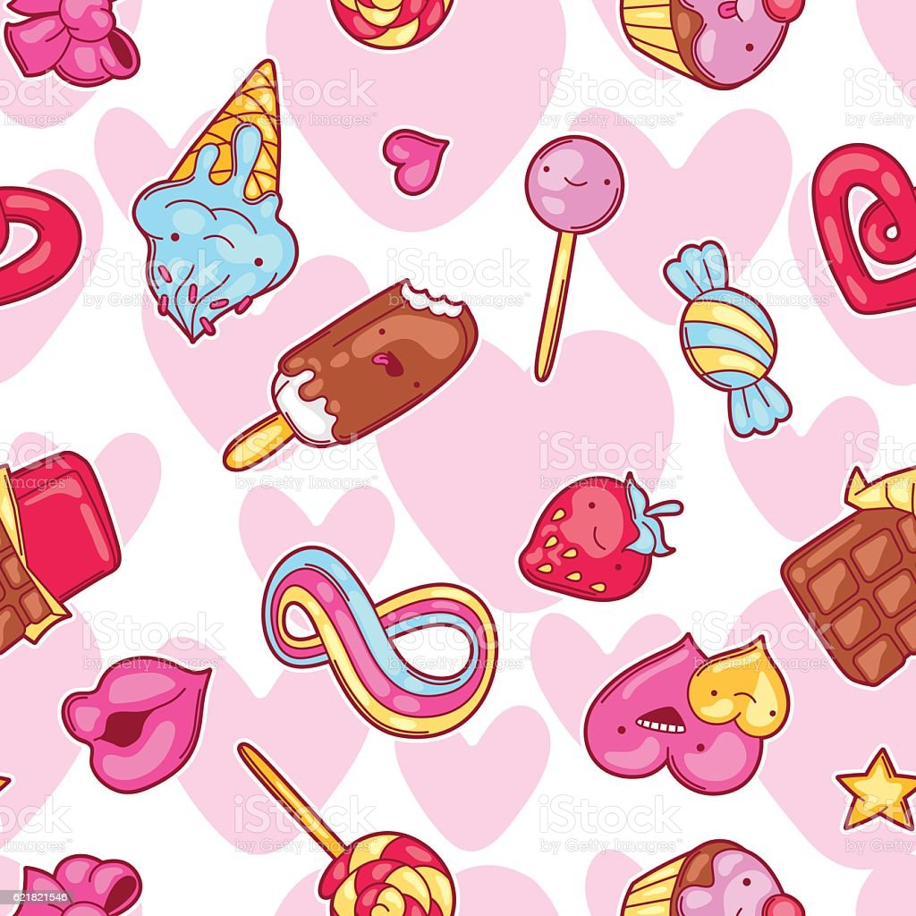 Pattern Cute Colorful Ice Cream Textiles Stock Vector: Seamless Kawaii Pattern With Sweets And Candies Crazy