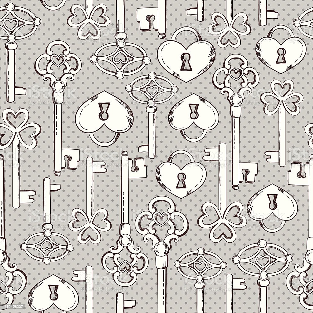 Seamless keys pattern royalty-free seamless keys pattern stock vector art & more images of antique