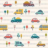 istock Seamless kids cartoon pattern with cars, buses, trucks 905127286
