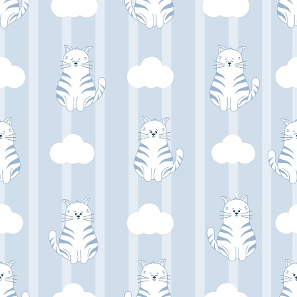 Seamless kids pattern with funny cat, white clouds on stripes backgruond. Lilac color.