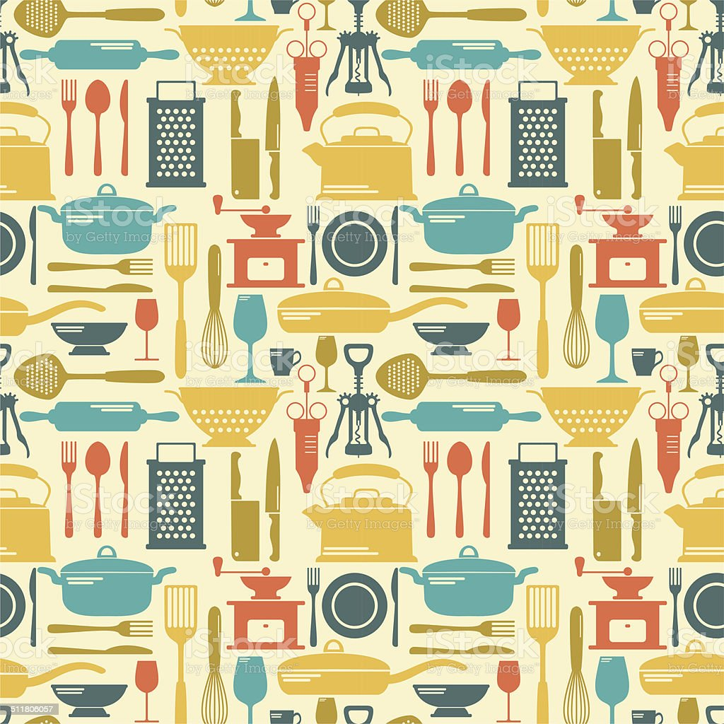 Seamless kitchen background vector art illustration