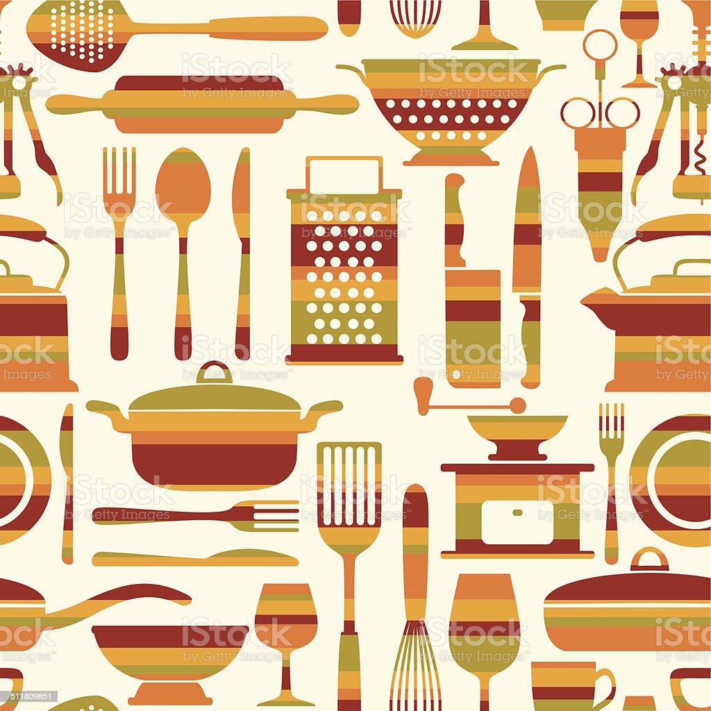 Seamless kitchen background vector art illustration