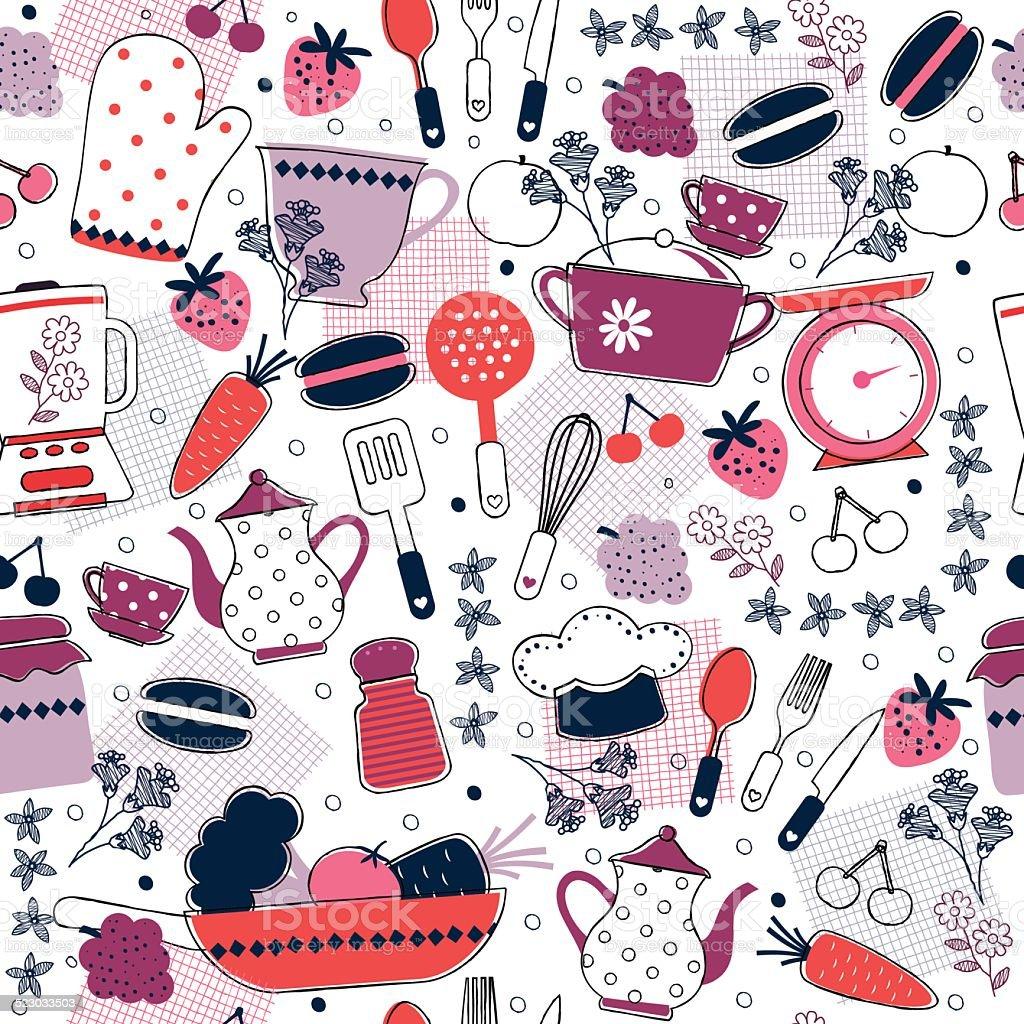 Excelente cocina de dise o de papel tapiz arte vectorial - Papel decorativo cocina ...
