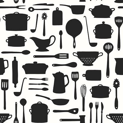 Seamless Kitchenware Pattern