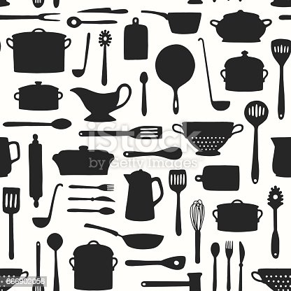 Hand drawn kitchenware and cutlery pattern