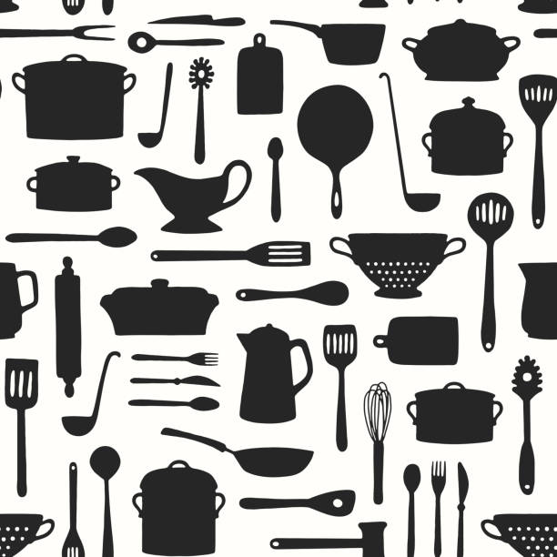 Seamless Kitchenware Pattern Hand drawn kitchenware and cutlery pattern cooking designs stock illustrations