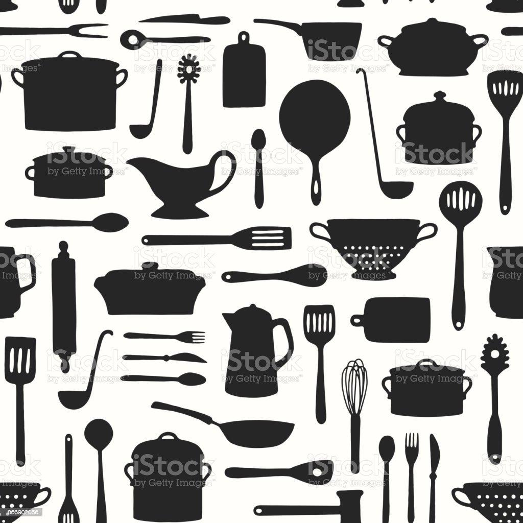 Seamless Kitchenware Pattern vector art illustration