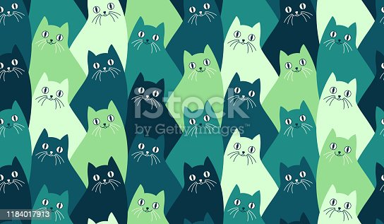 Seamlessly repeating kitty cat pattern with happy cats with whiskers.