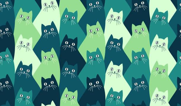 Seamless Kitty Cat Pattern Seamlessly repeating kitty cat pattern with happy cats with whiskers. animal stock illustrations