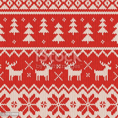 A seamless knitted Christmas pattern, perfect for your festive design project or as a background for your invitation. This realistic woollen texture incorporates reindeer, Christmas trees and snowflakes in a repeating pattern and the scalable eps10 file can be used at any size without loss of quality.