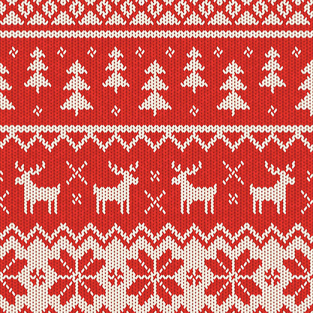 seamless knitted christmas pattern - flannel backgrounds stock illustrations, clip art, cartoons, & icons