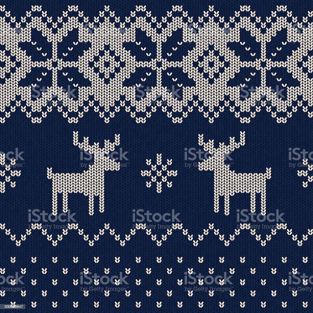 Seamless Knitted Christmas Pattern vector art illustration