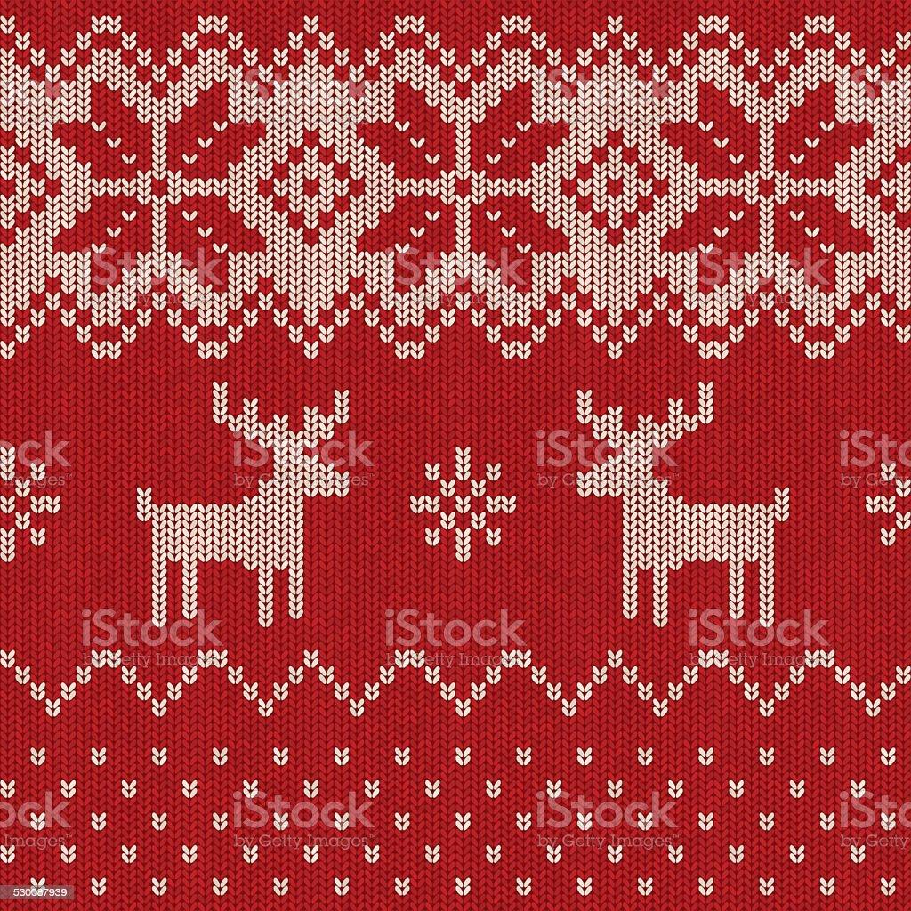 Nahtlose Weihnachten Muster gestrickt – Vektorgrafik