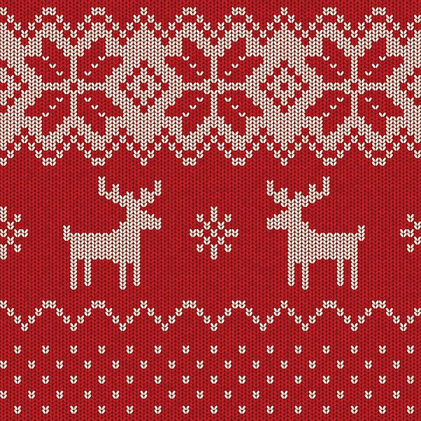 シームレスなパターンニットのクリスマス - 編む点のイラスト素材/クリップアート素材/マンガ素材/アイコン素材