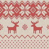 A seamless knitted Christmas pattern, perfect for your festive design project or as a background for your invitation. This realistic woollen texture incorporates reindeer and snowflakes in a repeating pattern and the scalable eps10 file can be used at any size without loss of quality.
